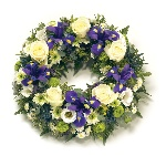 Wreath in blues and purples