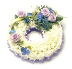 Wreath Ribbon Edging  LIlac and White